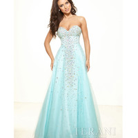 Terani p3093 Aqua Crystal Strapless Sweetheart Ball Gown 2015 Prom Dresses