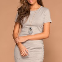 Cassi Grey Ruched T-Shirt Dress