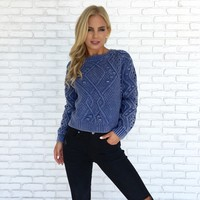 Country Blues Cable Knit Sweater Top