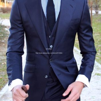 Custom Made high quality pure worsted Super 100% wool blue suit Mens Wedding tuxedos slim fit men suit many color to choose
