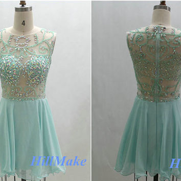 Tiffany Blue Homecoming Dress, Scoop Homecoming Dress, Short A-line Homecoming Dress,Prom Dress, Sexy Beading Homecoming Dress