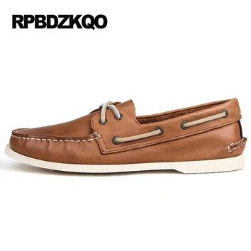 Retro Craft Boat Shoes Men Genuine Leather Cowhide Brown Casual Vintage Discount Flats Moccasins Black Blue 2017 Spring Classic
