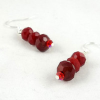 Blood Red Crystal Dangle Earrings by theotherstacey on Etsy
