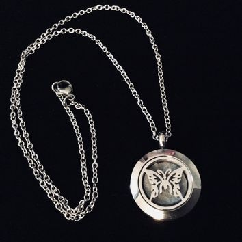 Butterfly Stainless Steel Essential Oil Diffuser Aromatherapy Locket Necklace Hypo-Allergenic Use With Young Living & Doterra Oils