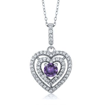 "8.61 Ct Round Purple Amethyst 925 Sterling Silver Pendant with 18"" Chain"