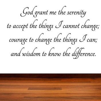 The Serenity Prayer Vinyl Wall Decal, God Grant Me The Serenity