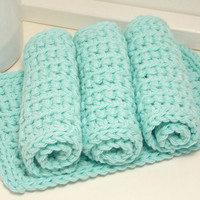 Cotton Crochet Dishcloths - Robins Egg Blue Eco-Friendly Reusable Kitchen or Bathroom Cleaning Cloth - Set of 4