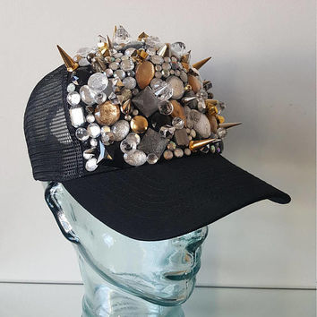 Rhinestone Spike Crystal and Gold Baseball Cap, Bedazzled Trucker Hat, Bejeweled Baseball Hat, Embellished Cap, Hip Hop
