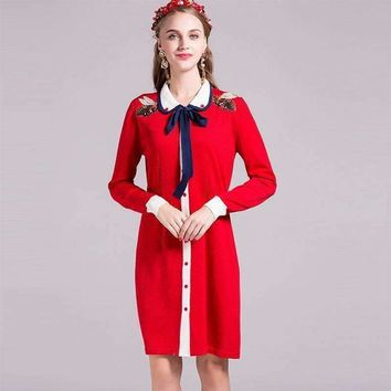 Women Knitted Dress Bees Embroidery Peter-Pan-Collar Knee-Length Dress