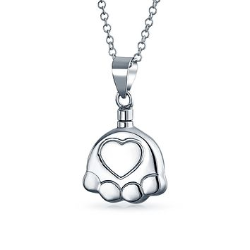 Dog Cat Puppy Paw Print Cremation Locket Necklaces Pendant Silver