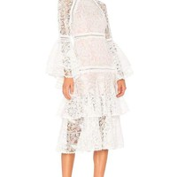 White Luxe Bell Sleeve Lace Dress