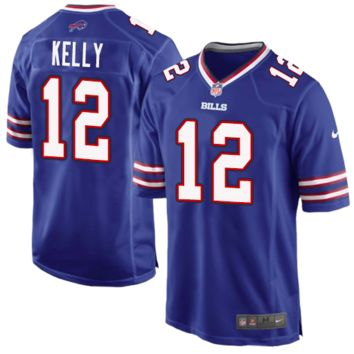 DCCK Buffalo Bills Jersey - Jim Kelly Blue Game Jersey