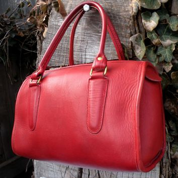 Vntg Coach Madison Satchel Doctor Bag Purse Red Leather Rare #255-1644 *READ