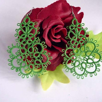 "Tatting earrings "" Belief"" -  Handcrafted jewelry green - gift  for her -  party cocktail - OOAK"