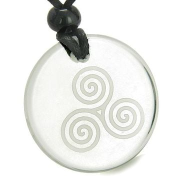 Amulet Triple Spiral of Life Magic Celtic Goddess Protection Quartz Medallion Necklace