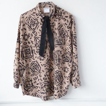 vintage 80s tribal patterned shirt . small medium . boyfriend