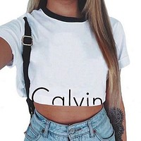 White letter printed short sleeved blouse short sleeved T