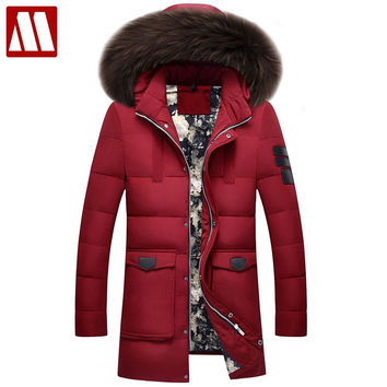 Thick Warm Winter duck Down Jacket for Men Waterproof Fur Collar Parkas Hooded Coat high quality Western style Overcoat