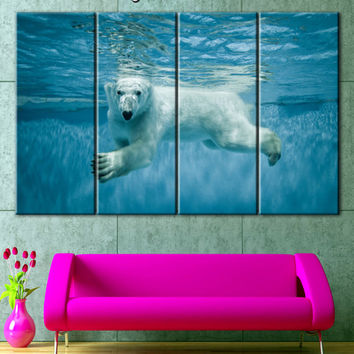 Polar Bear photo, Zoo animals, Canvas, Wall decor, Home decor, Stretched, Canvas art, Extra Large Wall Art, Anniversary Gift, Canvas prints