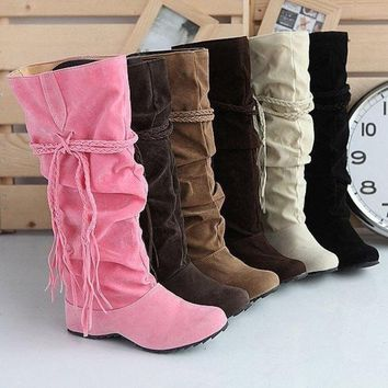DCCKIX3 Womens Ladies Fashion Faux Suede Slouchy Boho Fringe Mid Calf Boots Shoes = 1945834756