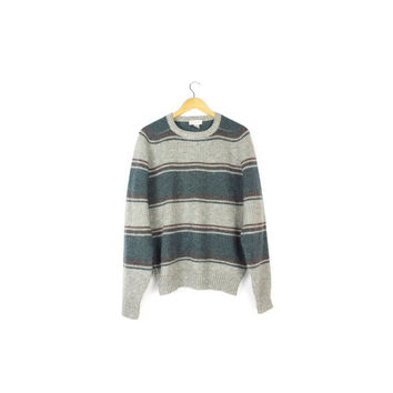 100% Shetland Wool Knit Sweater / pullover crew neck striped / vintage 1980s 80s / mens small - medium
