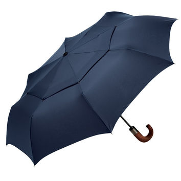 ShedRain WindPro Wood Handled Auto Open and Close Umbrella in Navy