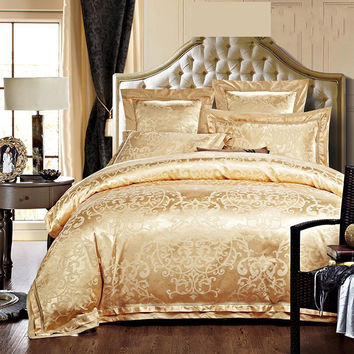 2015 Jacquard Silk/Cotton comforter cover queen king size 4pcs luxury gold bedding set duvet cover bedclothes set home textile