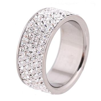 5 Row Lines Clear Crystal Jewelry Fashion Stainless Steel Engagement Rings