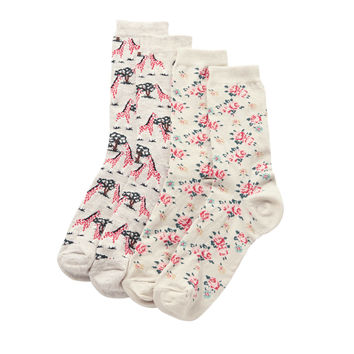 New in | Pack of 2 Giraffe & Cheapstow Rose Socks | CathKidston