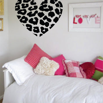 Leopard Print Heart Animal Design Decal Sticker Wall Vinyl Decor Art