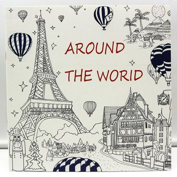 24 Page Coloring Book For Kids Adults Around The World In 80