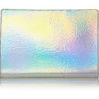 Stella McCartney | Holographic faux leather clutch | NET-A-PORTER.COM