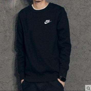 VXL8HQ NIKE fashion round neck sets of long-sleeved sweater sweater autumn and winter sports couple Sweater Black