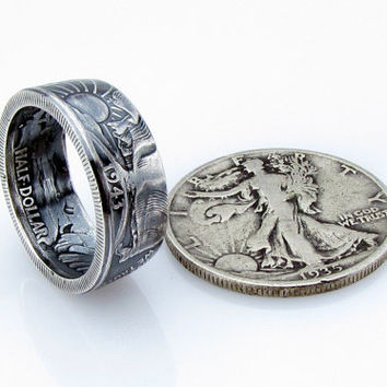 SILVER Walking Liberty Half Dollar Coin Ring,Unique Engagement Ring,Wedding Ring,Coin Jewelry,Mens,Band,Mans,Rings