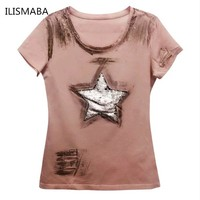 ILISMABA fashion t shirt women  short sleeve summer Large five-pointed star super flash holes pink summer shirt XL XXL