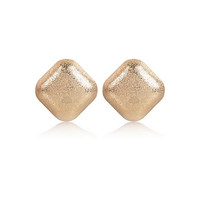 River Island Womens Gold tone textured square earrings