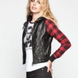 Full Tilt Plaid Sleeve Womens Hooded Faux Leather Jacket Black/Red  In Sizes