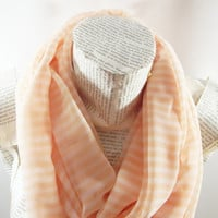 Striped Peach, Champagne Infinity Scarf, Chiffon Tube Scarf, Women Accessories