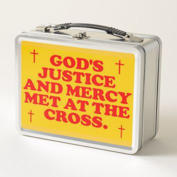 God's Justice And Mercy Met At The Cross. Metal Lunch Box