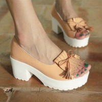 Wholesale Korea style comfortable tassel thick heel fish mouth sandals CZ-0804 pink - Lovely Fashion