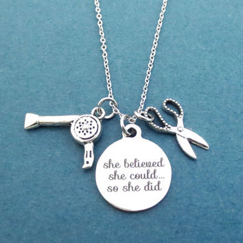 She believed, She could..., So she did, Hair dryer, Scissors, Silver, Necklace, Birthday, Friends, Christmas, New year, Gift, Jewelry