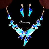 Women 18k Yellow Gold Plated Austrian Crystal Enamel Butterfly 4 Colors Jewelry Sets Chain Necklace Earrings sets Free shipping