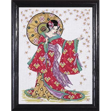 Top Quality Lovely Hot Sell Counted Cross Stitch Kit Red Geisha Japanese Woman Lady Girl