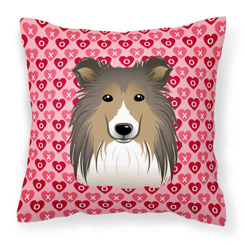 Sheltie Hearts Fabric Decorative Pillow BB5312PW1818