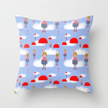 A nice day for flying Throw Pillow by Krusidull Illustrations