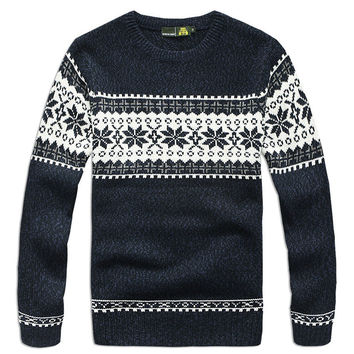 70% Wool 3 Color Men Pullover Sweaters Winter Long Sleeve Casual Fashion Man Sweater Blue White Coffee A2990