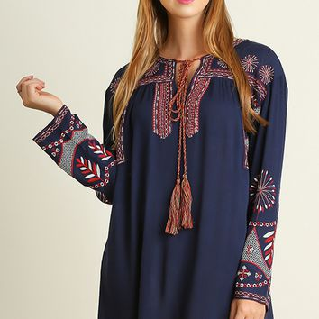 Navy Embroidered Peasant Shift Dress