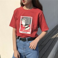 Mathilda Leon the professional Spring and summer South Korea ulzzang Harajuku style head portrait loose sets of t-shirt female