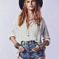 Free People Womens Printed Ruffle Hem Buttondown
