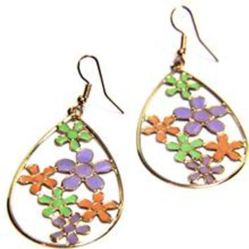 Flower Enamel Oval Hook Earrings